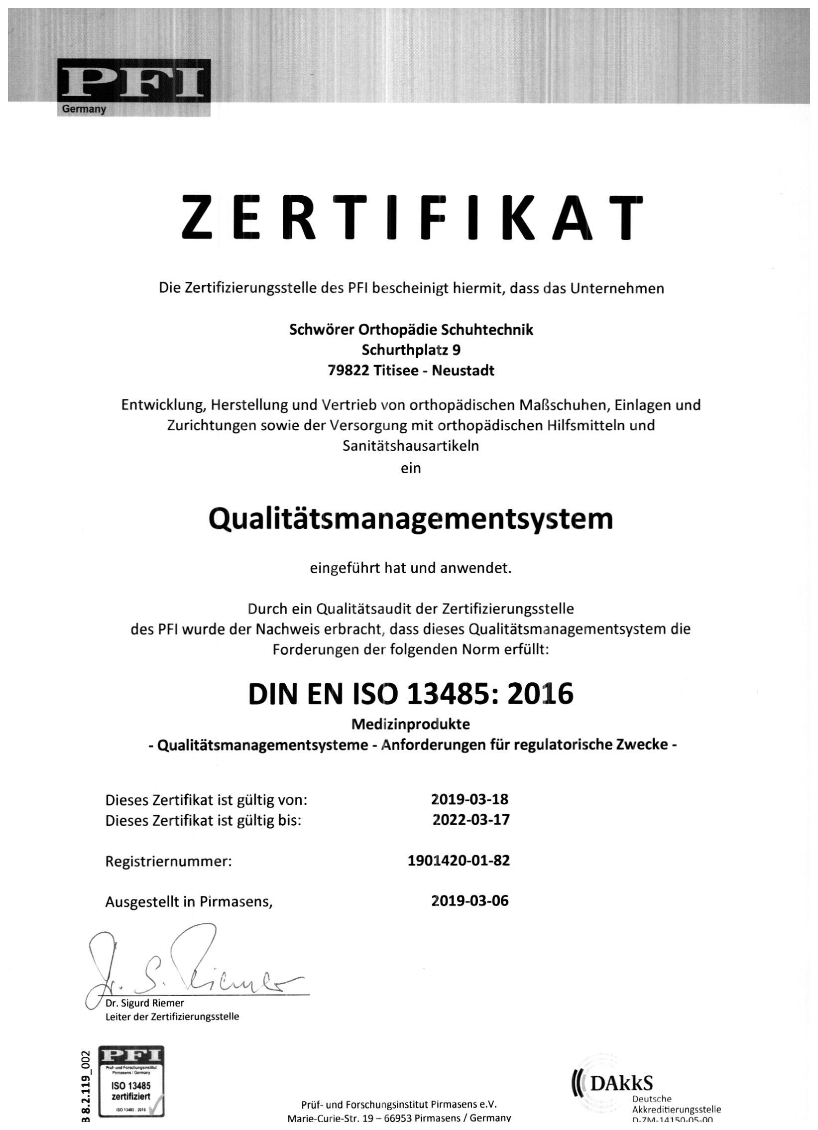 Zertifizierung Orthopädie Schuhtechnik Qualitätsmanagement